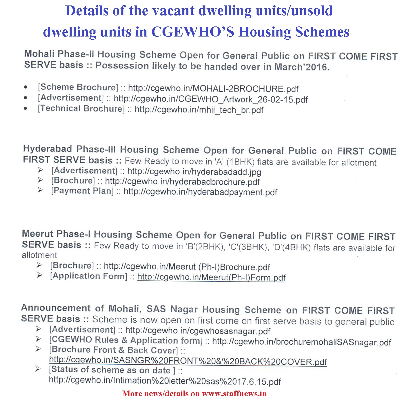 Vacant/unsold Dwelling Units In CGEWHO'S Housing Schemes
