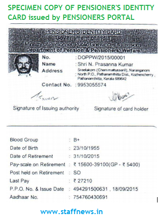 Issue of Pensioners Identity Card to Pensioners: Specimen Copy of I Card