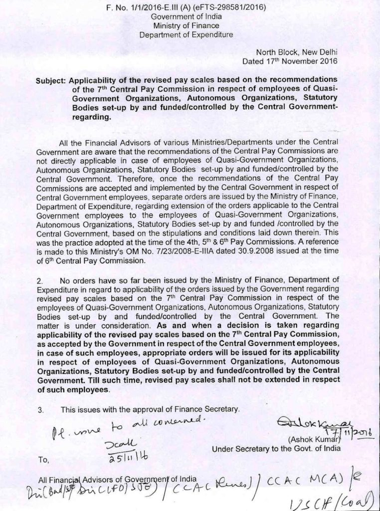 Applicability of 7th CPC in respect of Autonomous/Statutory Bodies: FinMin Order