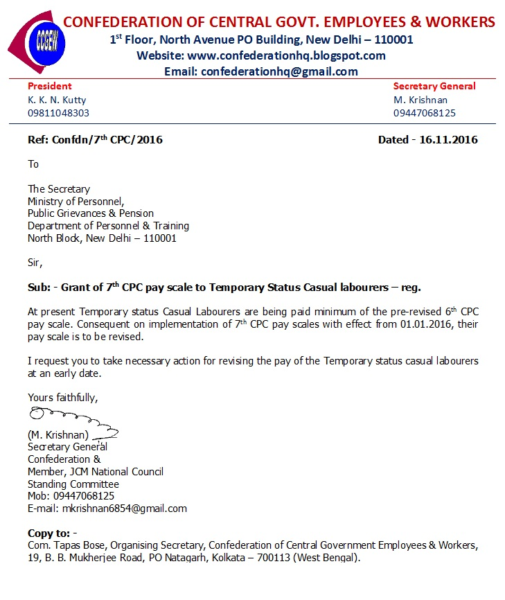 7th CPC pay scale to Temporary Status Casual labourers – Confederation writes to DoPT