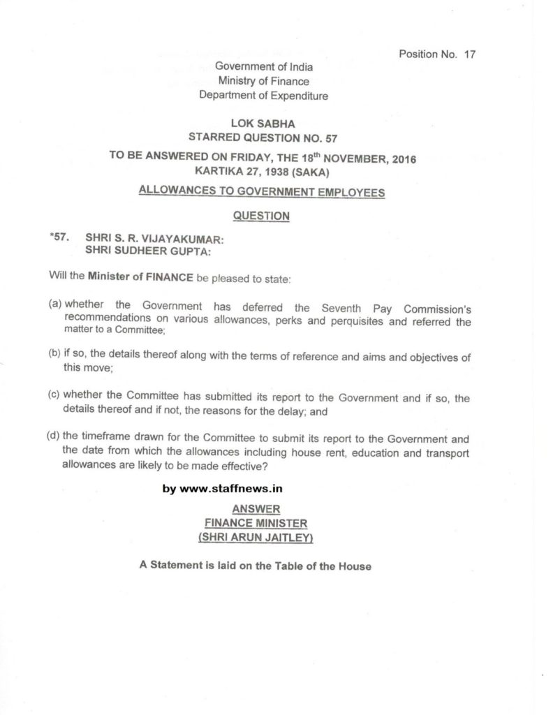 Seventh Pay Commission Allowances to Govt Employees: Official Answer by Finance Minister in Lok Sabha
