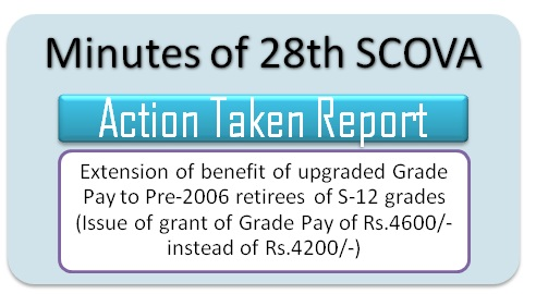 Extension of benefit of upgraded Grade Pay to Pre-2006 retirees of S-12 grades (GP Rs. 4600/- instead of Rs. 4200): ATR 28th SCOVA