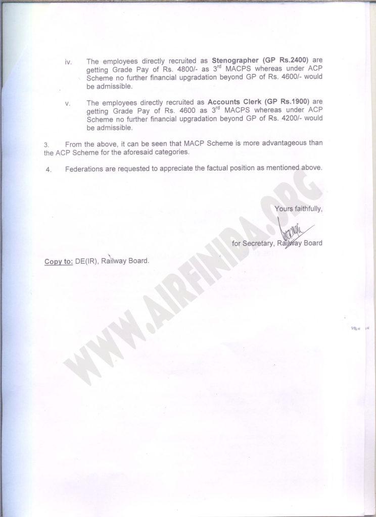 MACP Scheme is more advantageous than the ACP Scheme for certain categories: Railway Board
