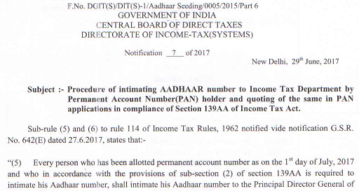 Procedure of intimating AADHAAR number to ITD by PAN holder and quoting of the same in PAN applications