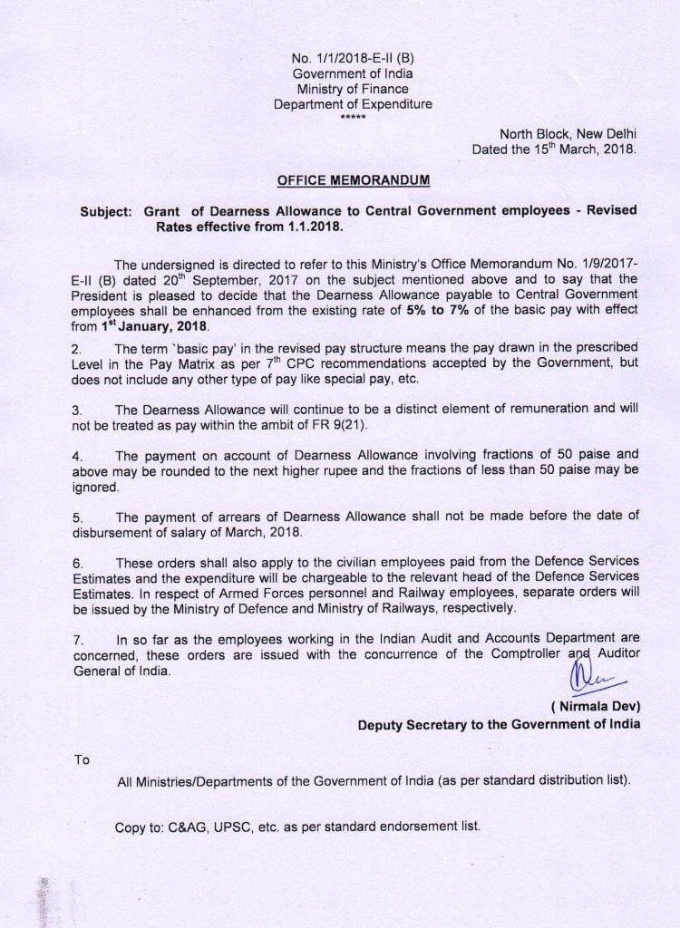 Dearness Allowance from Jan 2018 @ 7%: Finance Ministry's Order