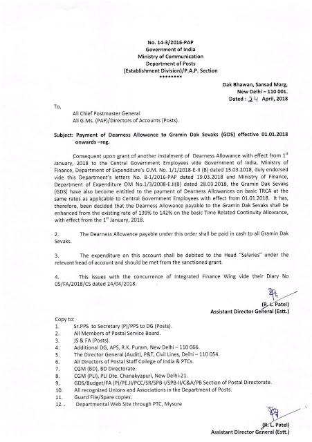 DA from Jan-2018 @ 142% i.r.o. Gramin Dak Sevaks (GDS): Department of Posts Order