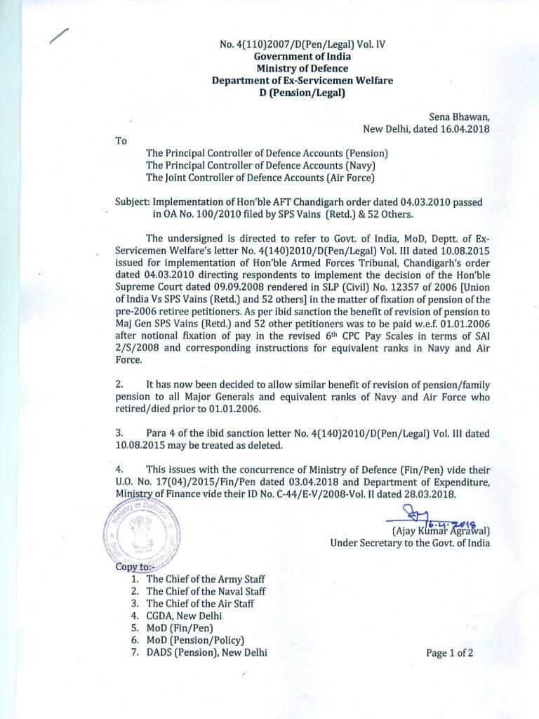 Revision of Pension of All Pre-2006 Major Generals and equivalent ranks: Implementation of Hon'ble AFT Chandigarh Order in [OA No. 100/2010 Maj Gen SPS Vains & 52 Others]