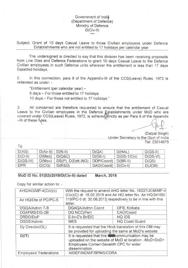 Grant of 10 days Casual Leave to those Civilian employees under Defence Establishments who are not entitled to 17 holidays per calendar year