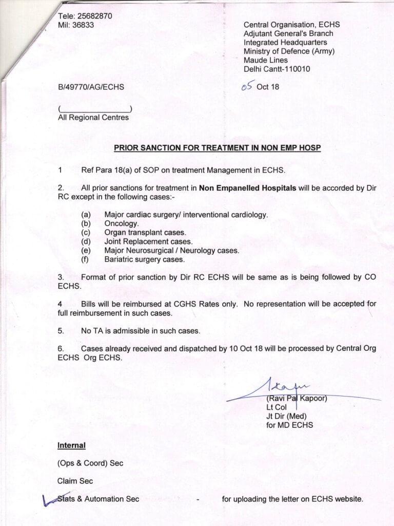 ECHS: Prior sanction for treatment in non emp hosp