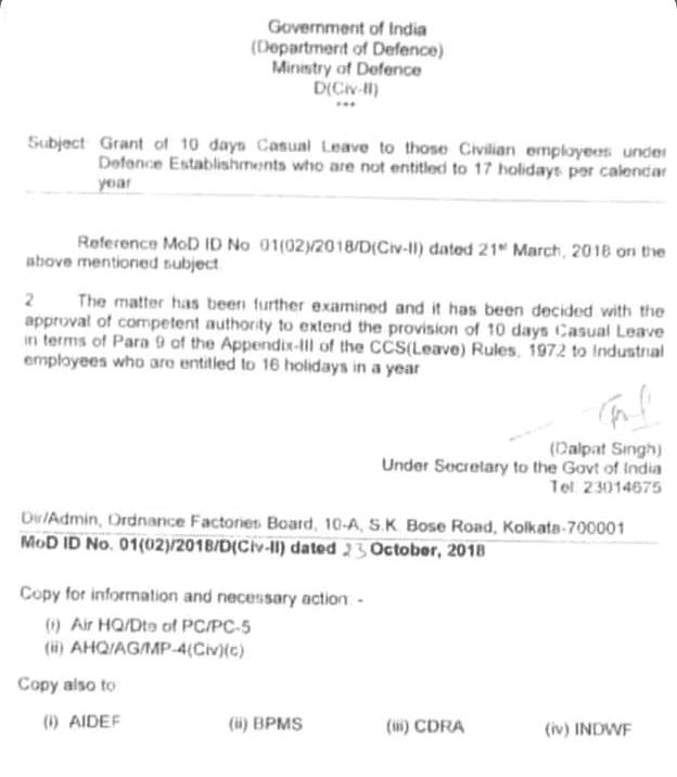 Grant of 10 days Casual Leave to those Civilian Employees under Defence Establishments who are not entitled to 17 Holidays