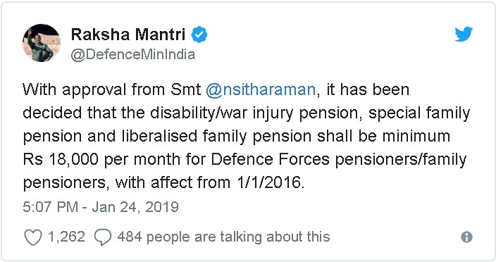 Defence Forces – Minimum Disability /War Injury Pension, Special and Liberalised Family Pension Rs.18000 w.e.f. 01.01.2016