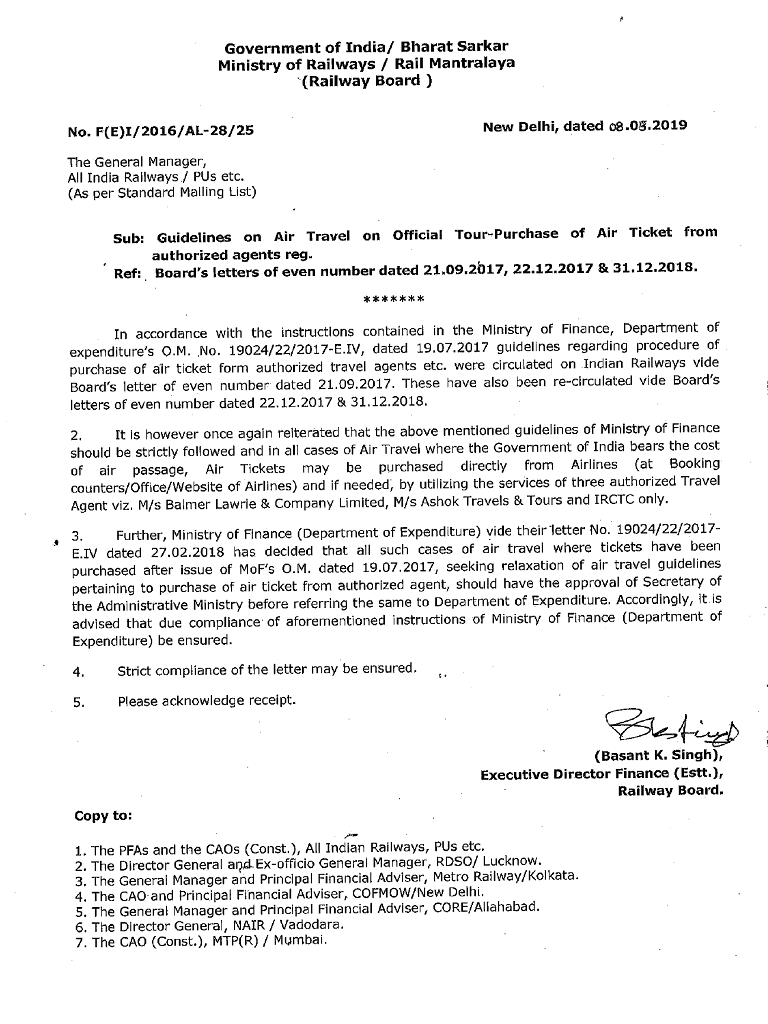 Air Travel on Official Tour – Purchase of Air Ticket from authorized agents: Railway Board order dated 08.05.2019
