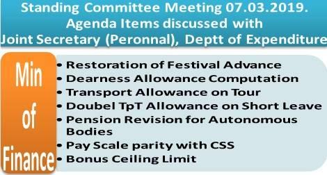 DoE: Festival Advance, Dearness Allowance, Transport Allowance, Pension Revision for Autonomous Bodies, Pay Scale parity with CSS, Bonus Ceiling etc.: Standing Committee Meeting