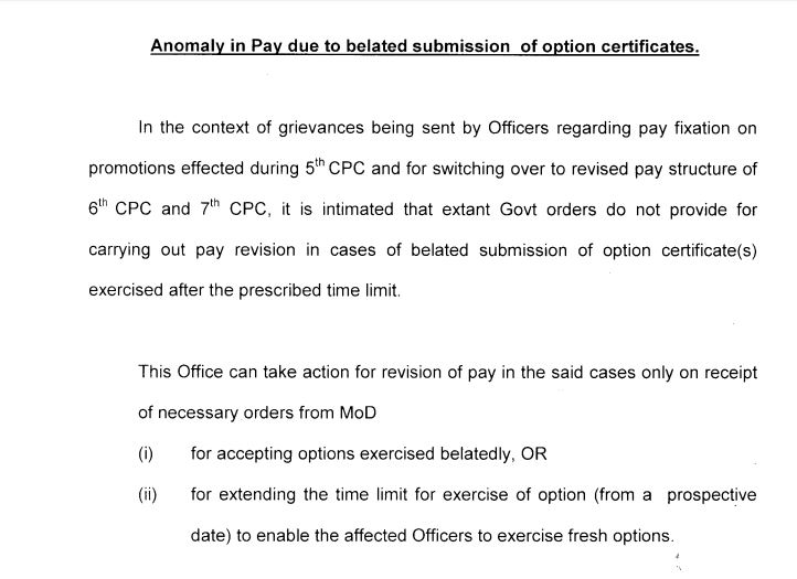 7th Pay Commission – Anomaly in Pay due to belated submission of option certificate: PCDA(O) Pune