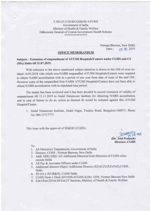 Jindal Naturecure Institute, Banglore: Extension of empanelment under CGHS & CS(MA) Rules upto 13.11.2019