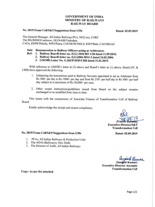 Revised Double honorarium to Railway Officers acting as Arbitrators.