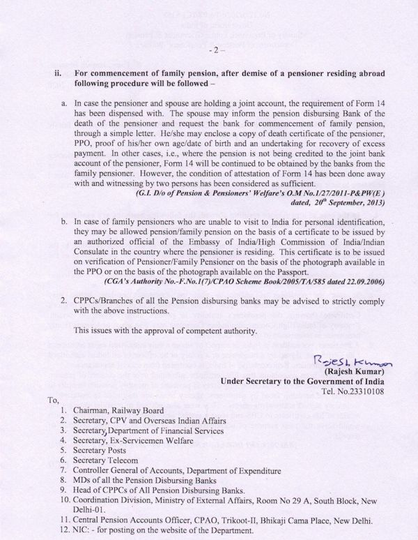 Consolidated instructions on Life Certificate and commencement of family pension if pensioner / family pensioner is living abroad