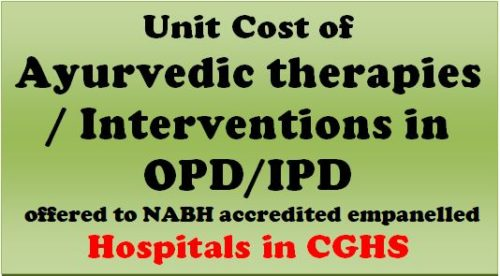 Unit Cost of Ayurvedic therapies / interventions in OPD/IPD offered to NABH accredited empanelled Hospitals in CGHS.