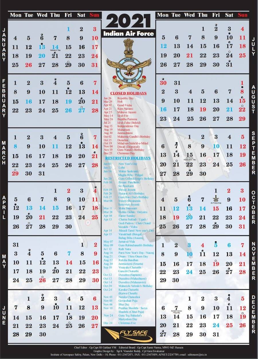 INDIAN AIR FORCE CALENDAR 2021 on Golden Jubilee Year of Indo-Pak War of 1971 available for download