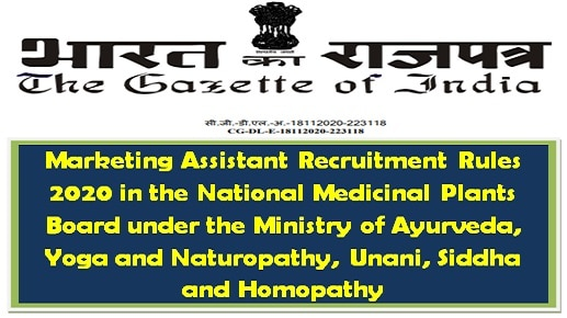 Marketing Assistant Recruitment Rules 2020 in the National Medicinal Plants Board