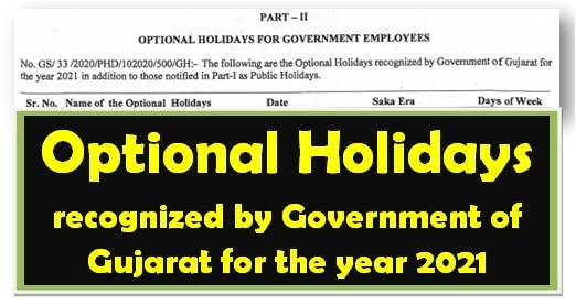 Optional Holidays recognized by Government of Gujarat for the year 2021