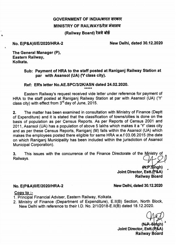 Payment of HRA to the staff posted at Raniganj Railway Station at par with Asansol (UA) ('Y' class city): Railway Board