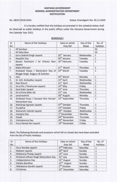 public-holidays-in-the-public-offices-under-the-haryana-government-during-the-calendar-year-2021