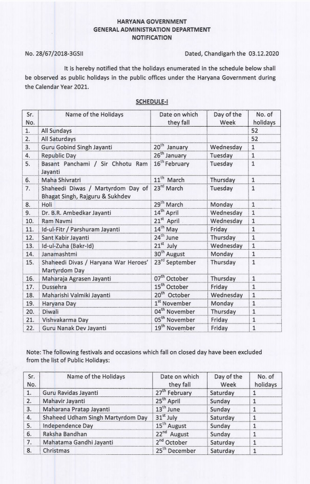 Public holidays in the public offices under the Haryana Government during the Calendar Year 2021