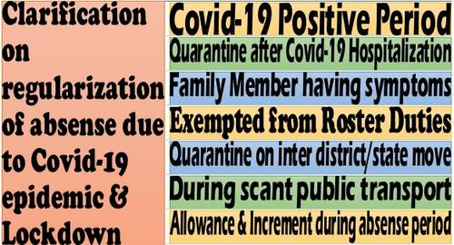 Regularisation of absence due to Covid-19 epidemic & Lockdown: Clarification on rest of the points of doubts after DoPT OM