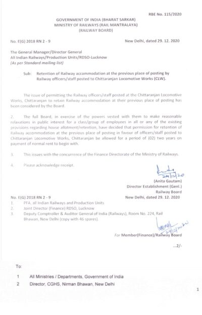 retention-of-railway-accommodation-at-the-previous-place-of-posting-by-railway-officers-staff-posted-to-clw-railway-board-rbe-no-115-2020