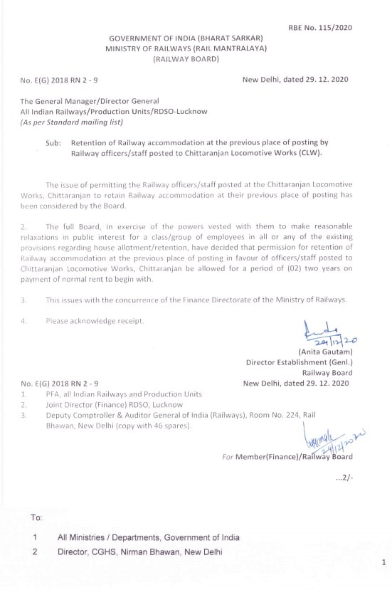 Retention of Railway accommodation at the previous place of posting by Railway officers /staff posted to CLW: Railway Board RBE No. 115/2020