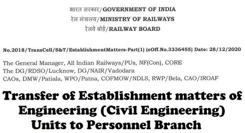 Transfer of Establishment matters of Engineering (Civil Engineering) Units to Personnel Branch: Railway Board Order