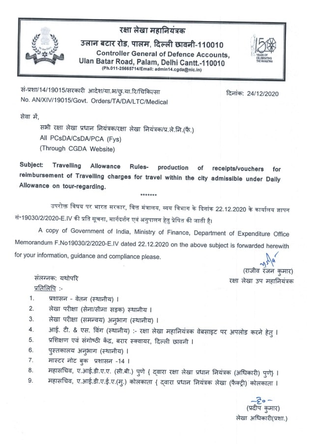 Travelling Allowance Rules – condition of production of receipt/vouchers for officials in Pay Level 9 to 11 is done away – CGDA Order dated 24-12-2020