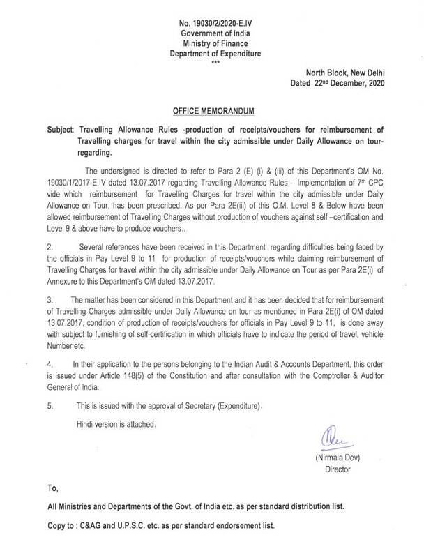 Travelling Allowance Rules – Production of receipts/vouchers for reimbursement of Travelling charges for travel within the city admissible under Daily Allowance on tour