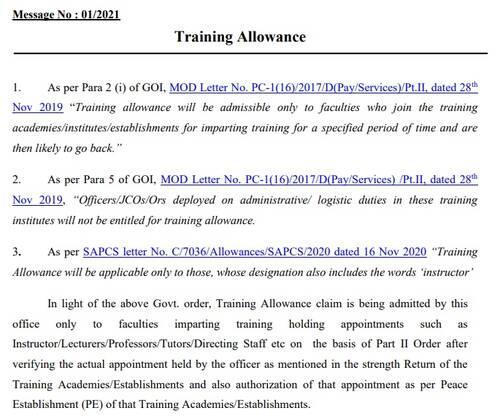 7th CPC Training Allowance: PCDA(O) Message No. 01/2021 regarding clarification on admissibility of Training Allowance