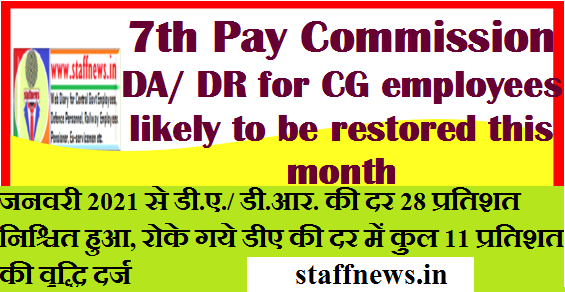 7th Pay Commission: DA/ DR for CG employees likely to be restored this month