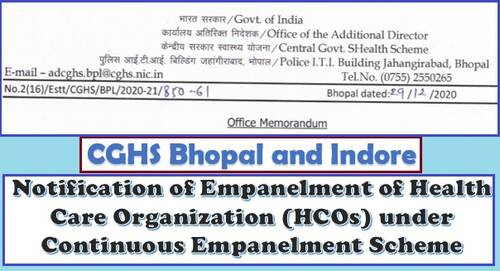 CGHS Bhopal and Indore Hospital List: Notification of Empanelment of Health Care Organization (HCOs) under Continuous Empanelment Scheme