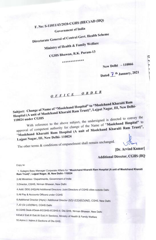 CGHS Delhi – Name Change of Moolchand Hospital to Moolchand Kharaiti Ram Hospital- OM dated- 7 Jan 2021