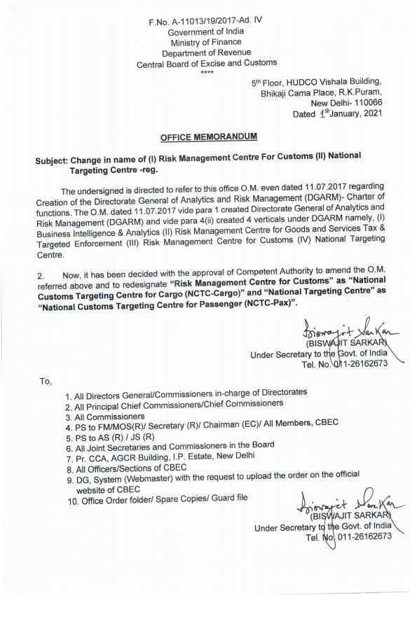 Change in name of (I) Risk Management Centre For Customs (II) National Targeting Centre: CBDT OM Dt 4th January 2021