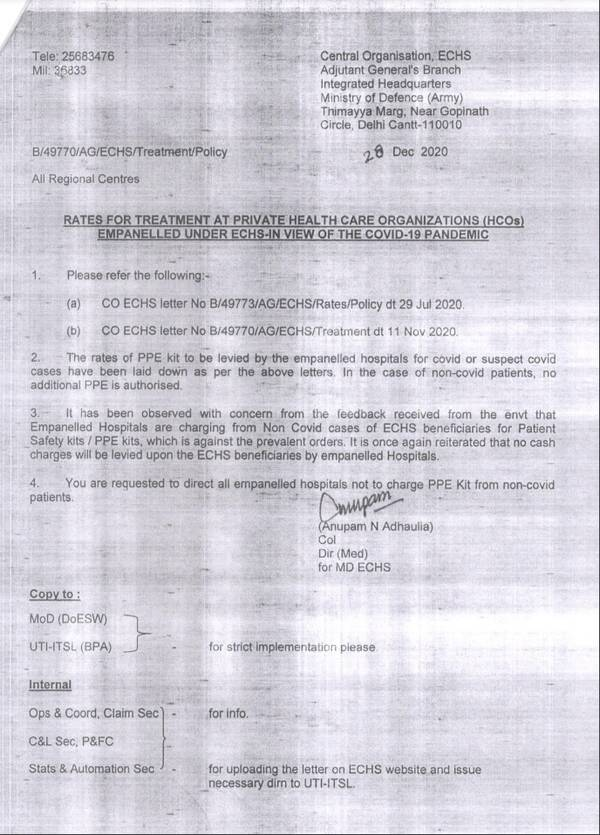 ECHS Order to all empanelled hospitals not to charge PPE Kit from non-covid patient