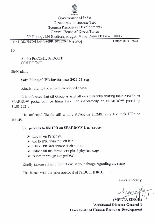 Filing of IPR for the year 2020-21: CBDT Order