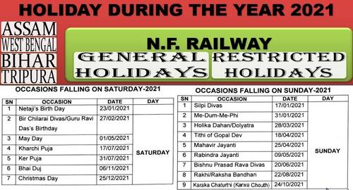 Holiday List during the year 2021 for offices of N.F. Railway situated in Assam, West Bengal, Bihar & Tripura