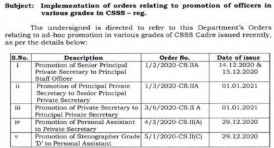 implementation-of-orders-relating-to-promotion-of-officers-in-various-grades-in-csss