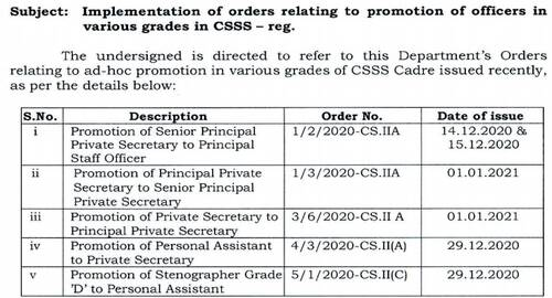 Implementation of orders relating to promotion of officers in various grades in CSSS: DoP&T OM