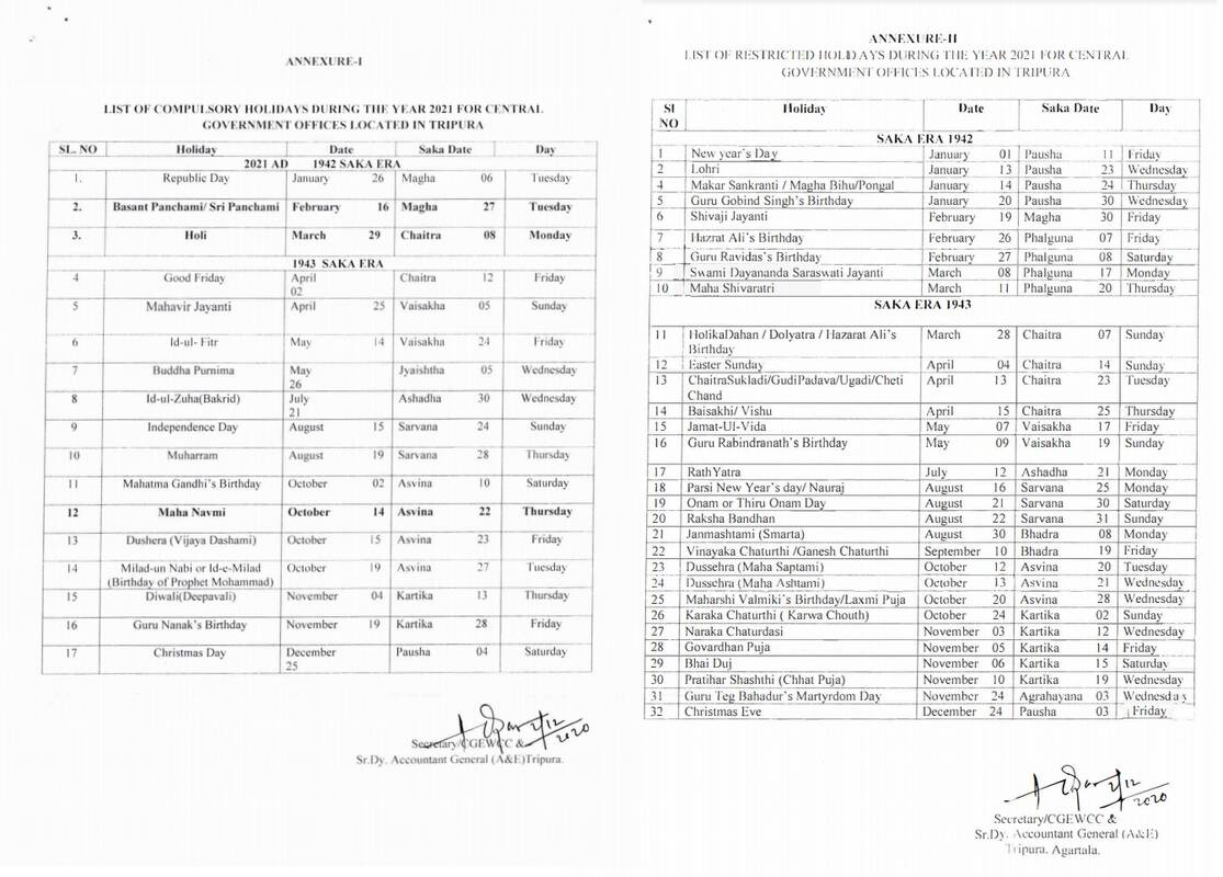 List of Holidays Year 2021 for Central Govt Offices located in Tripura by CGEWCC