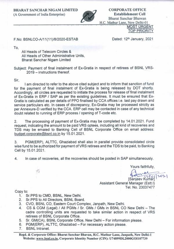 Payment of final instalment of Ex-Gratia in respect of retirees of BSNL VRS-2019 instructions thereof