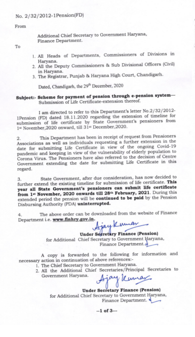 Payment of pension through e-pension system—Submission of Life Certificate-extension thereof