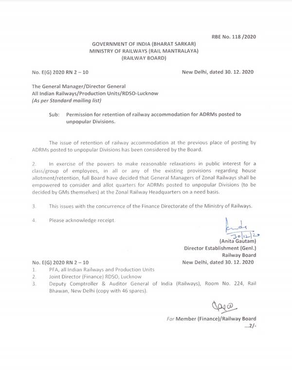 Permission for retention of railway accommodation for ADRMs posted to unpopular Divisions: RBE No. 118 /2020