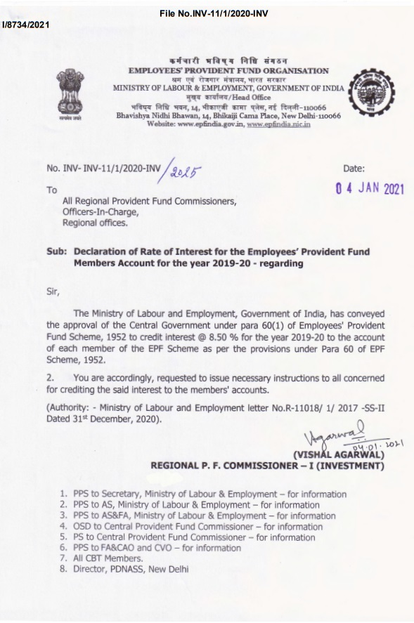 Rate of Interest @8.50% for the Employees' Provident Fund Members Account for the year 2019-20: EPFO