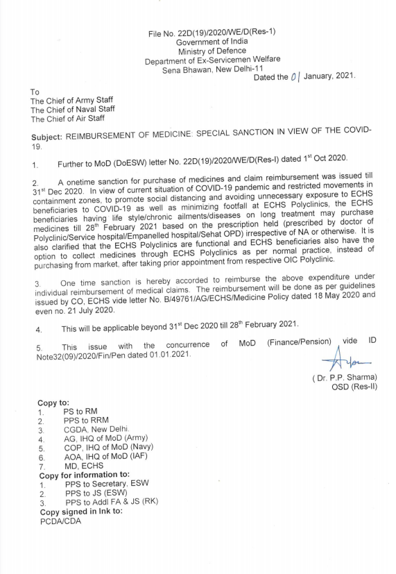 Reimbursement of Medicine: ECHS Order regarding Special Sanction in view of the COVID-19